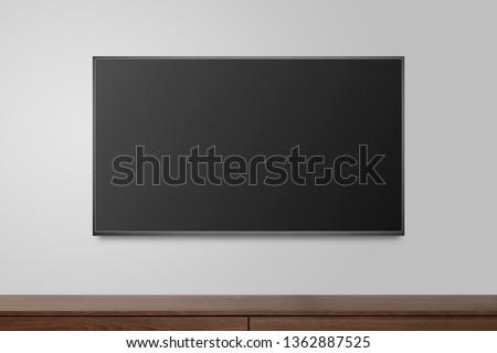 Television on white wall, TV 4K flat screen lcd or oled, plasma realistic illustration, Black blank HD monitor mockup, Modern video panel black flatscreen.