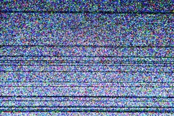 Television screen with static noise caused by bad signal reception