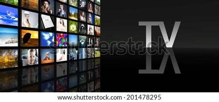 Television screens on black background