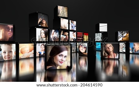 Television screens on black background with copy space