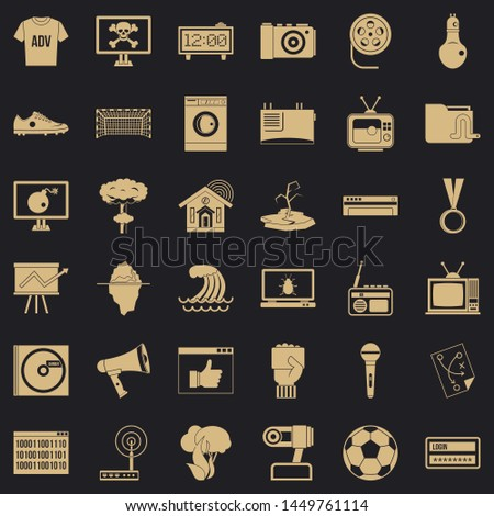 Television set icons set. Simple style of 36 television set icons for web for any design