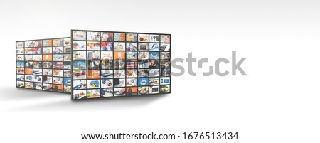Television streaming, TV multimedia panel. Web banner image with copy space Stock fotó ©