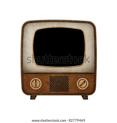 Television ( TV )  Blank screen icon recycled paper stick on white background