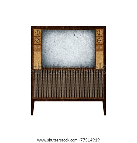 Television ( TV ) icon recycled paper craft stick on white background