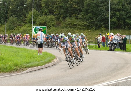 TELFORD, UK - SEPTEMBER 10: Tour of Britain Cycle Race - Team Agritubel Lead the Chase Pack 2 mins Behind Leaders During Stage 4, Newport, Telford, September 10, 2008