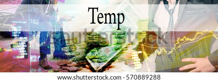 Temp - Hand writing word to represent the meaning of financial word as concept. A word Temp is a part of Investment&Wealth management in stock photo. Photo stock ©
