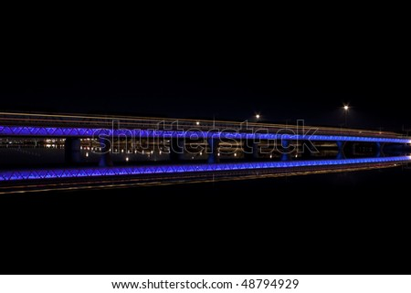 Tempe city lake train lights at night