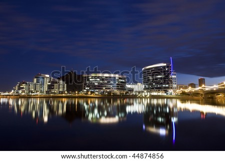 tempe town lake and the downtown tempe skyline stock