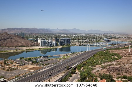 Tempe Town Lake with the Red Mountain Freeway (Loop 202) in the foreground