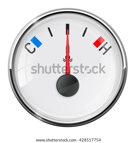 Temperature gauge. Medium position. Illustration on white background. Raster version
