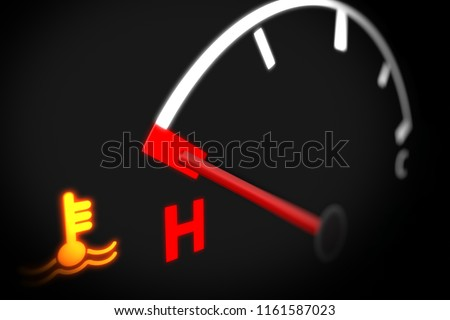 Temperature Gauge With Engine Temperature Warning Light on Car Dashboard. 3D illustration.