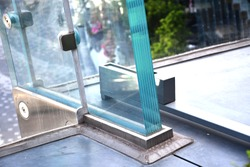 Tempered laminated glass railing balustrade panels frame less ,safety glass for modern architectural buildings. Concept image for glass strengthen and construction material