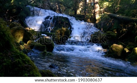 Tempestuous waterfall flowing through the cascades. Foto stock ©
