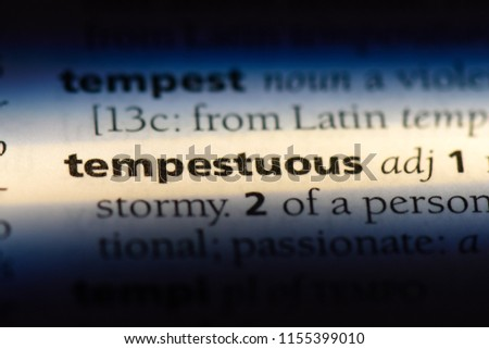 tempestuous word in a dictionary. tempestuous concept. Foto stock ©