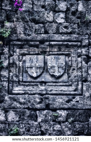 Templar emblems carved on the medieval wall #1456921121