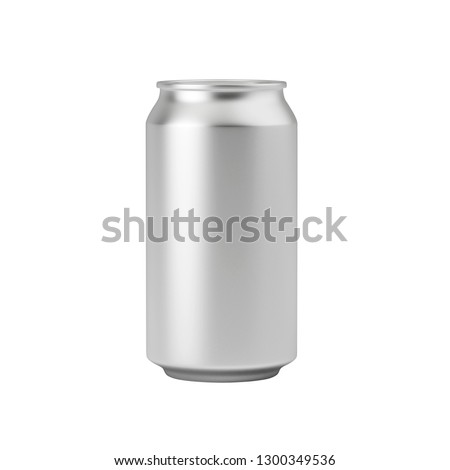 Template aluminum soda can isolated on white background, mockup, can for beer and carbonated drinks. 3D rendering.