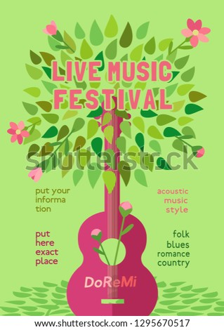 Template Design Poster with acoustic guitar silhouette spring green leaves. Design idea Live Music Festival show promotion advertisement. Seasonal event background design vintage illustration A4 size