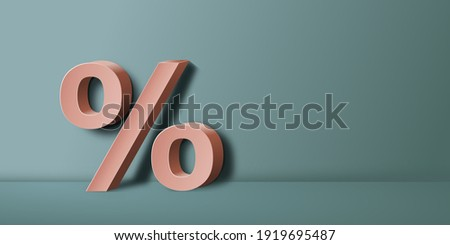 Template design with 3d percentage symbol with blank space on the side for text, 3D illustration, perfect for advertisements, banners, posters, flyers, icons, we backgrounds etc. Foto stock ©