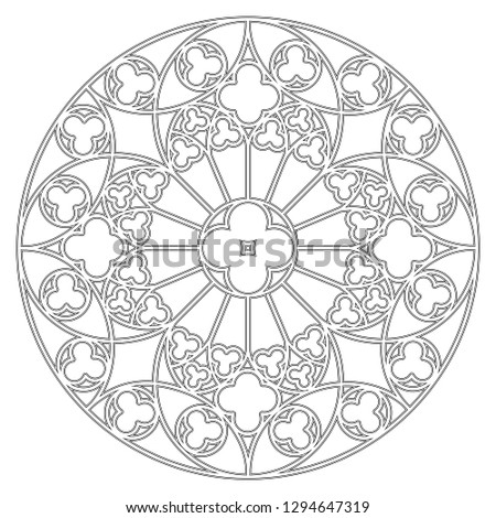 shutterstock puzzlepix Visual Timeline template drawing of a medieval round ornament for stained glass windows in the gothic style