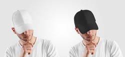 Template for a white, black cap on a guy with his head down, front view, blank hat with a visor, design presentation. A set of accessories for sports, hip-hop. Headdress mockup Isolated on background