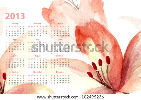 Template for calendar 2013 with lily flowers