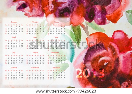 Template for calendar 2013 with roses flowers