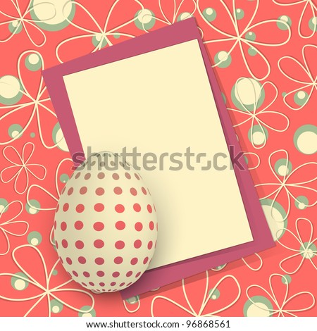 Template for Happy Easter card with egg and copy space