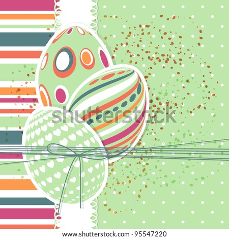 Template for Happy easter card with eggs and ribbon