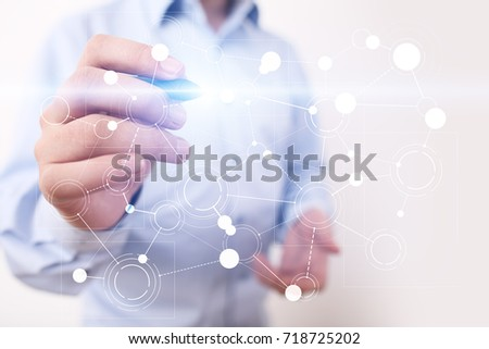 Template for text, Virtual screen Background with icons. Business, internet technology and networking concept.
