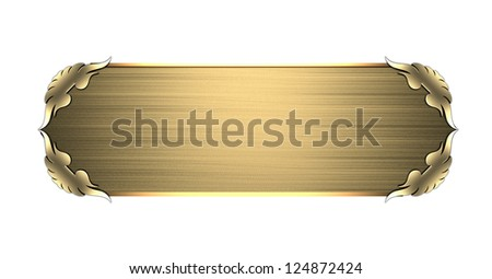 Template for writing. Gold nameplate with gold ornate edges, isolated on white background