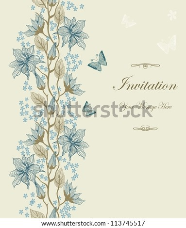Template frame design for greeting card with tender blue flowers
