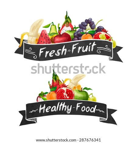 Template logo or decoration in retro style. Ribbons and different set of fruit in a watercolor style.