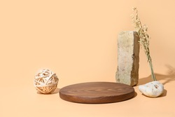 Template, mock up, podium for natural organic products and SPA accessories. Eco friendly monocrome composition on beige background. Natural skin care concept.