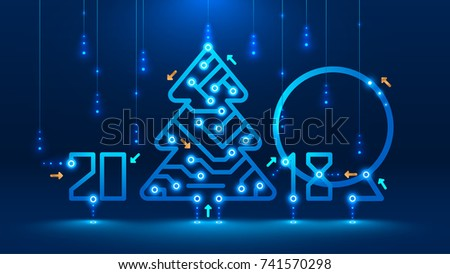 Template new year and Christmas cards in the style of new technologies. Christmas tree, 2018 year on the printed circuit Board. Snowfall and snow flakes from the electronic pulses and signals.