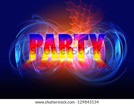 Template of banner with word 'Party' in smoke clubs