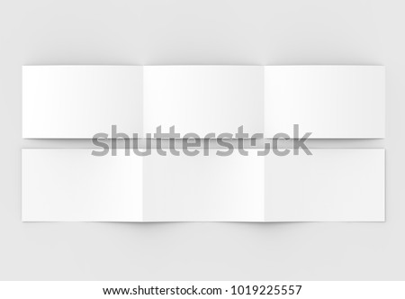 Template of blank three fold, horizontal - landscape brochure mock up isolated on soft gray background. 3D illustrating.
