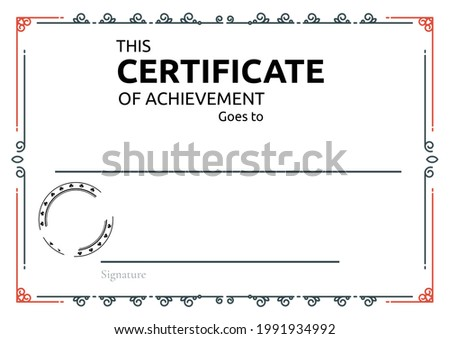 Template of certificate of achievement with decorative frame pattern and copy space. certificate template design concept
