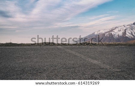 template of empty road and mountain #614319269