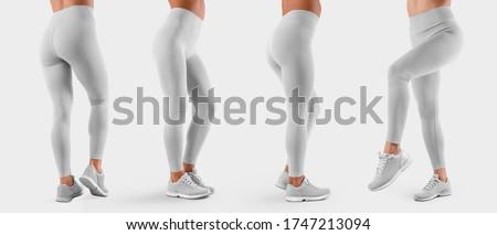 Template of white stretch leggings on a sports girl in sneakers, side view, back view, white tight pants, isolated on background. Mockup of women's clothing on slim legs, for design presentation. Set Stockfoto ©