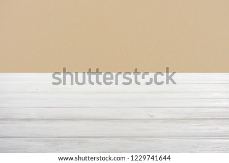 template of white wooden floor on dark beige background #1229741644