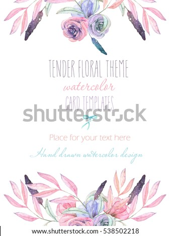 Template postcard with with watercolor tender flowers and leaves in pastel shades, hand drawn on a white background, for invitation, card decoration and other works, wedding design, greeting card #538502218