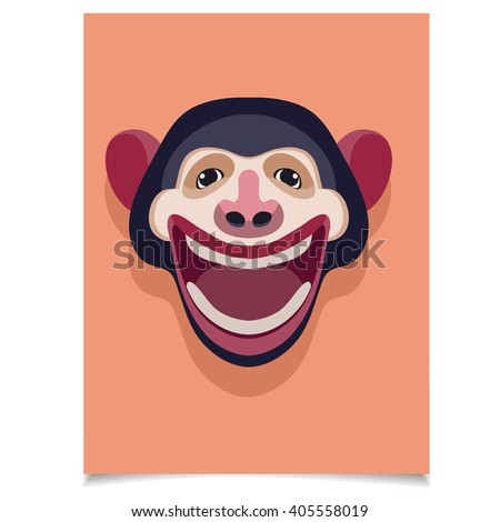 Template set with smiling monkey head for placards brochures template set with smiling monkey head for placards brochures posters greeting cards m4hsunfo
