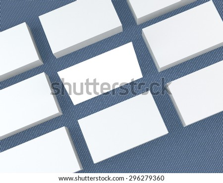 template to presentation. place for your design. many cards. stacks of paper. greeting cards. flyers. business cards. canvas background. blue background