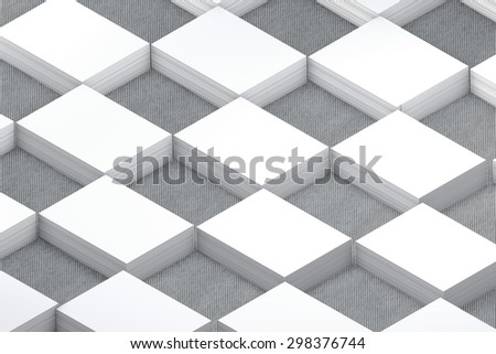 template to presentation. place for your design. many cards. stacks of paper. greeting cards. flyers. business cards. canvas background. checkerboard pattern. grey background