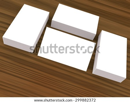 template to presentation. place for your design. many cards. stacks of paper. greeting cards. flyers. business cards. wood background.