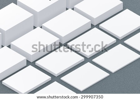 template to presentation. place for your design. many cards. stacks of paper. greeting cards. flyers. business cards. canvas background. increasing the height. grey background