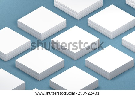 template to presentation. place for your design. many cards. stacks of paper. greeting cards. flyers. business cards. canvas background. square card. blue background