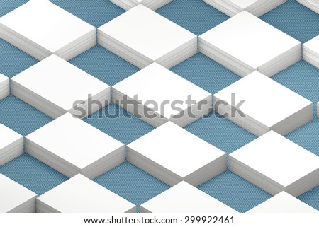 template to presentation. place for your design. many cards. stacks of paper. greeting cards. flyers. business cards. canvas background. checkerboard pattern. blue background