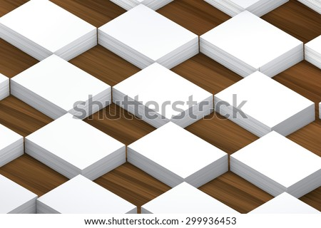 template to presentation. place for your design. many cards. stacks of paper. greeting cards. flyers. business cards. wood background. checkerboard pattern