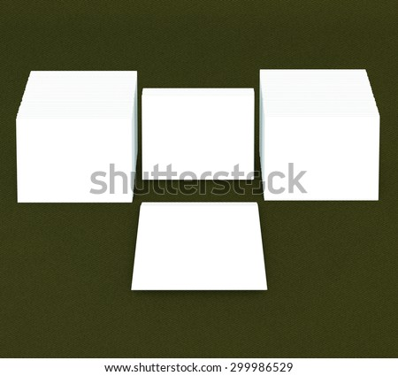 template to presentation. place for your design. many cards. stacks of paper. greeting cards. flyers. business cards. canvas background. green background